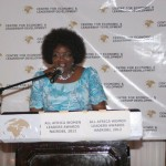 Dr Ida Odinga, Wife of the Prime Minister of Kenya giving the welcome address during the 2012 African Women of Influence Awards Dinner