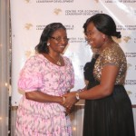 Executive Director of CELD, Mrs Furo Giami congratulating Prof. Comfort Ekpo during the African Women of Influence Awards Ceremony