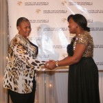Executive Director of CELD, Mrs Furo Giami congratulating Rt. Hon. Chinwe Clare Nwaebili during the African Women of Influence Awards Ceremony