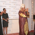Hon. Mulikat Akande-Adeola giving her award acceptance speech, while supported by Hon. Ogbaga, former member of Nigerian House of Representatives