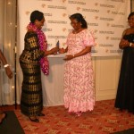 Rt. Hon. Anne Makinda presenting the Most Outstanding Excellence Award (Education) to PROFESSOR COMFORT M. EKPO, The Vice Chancellor, University of Uyo, Nigeria