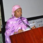 The first lady of Gombe state Mrs. Adama Ibrahim dankwambo  Giving her presentation during the training
